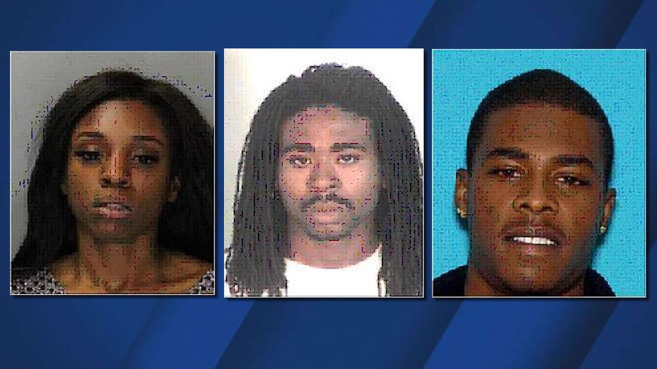 Suspects (left to right), Tesheya Bird (22), Jonathan Lewis (32); Todd Thornton (23), who were arrested in connection with sex-trafficking crimes in Vacaville, Calif.