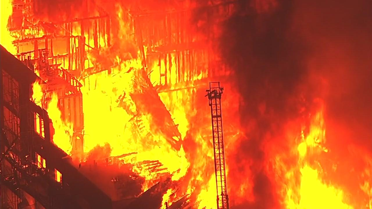 A massive fire broke out in Oakland, Calif. on Monday, Oct. 31, 2016.