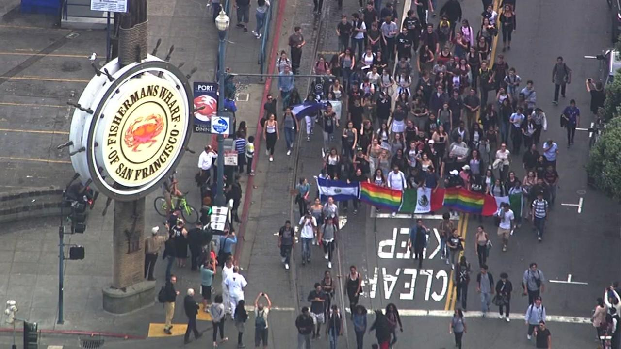 High school students protesting Donald Trumps election victory march through the streets of San Francisco on Thursday, Nov. 10, 2016.