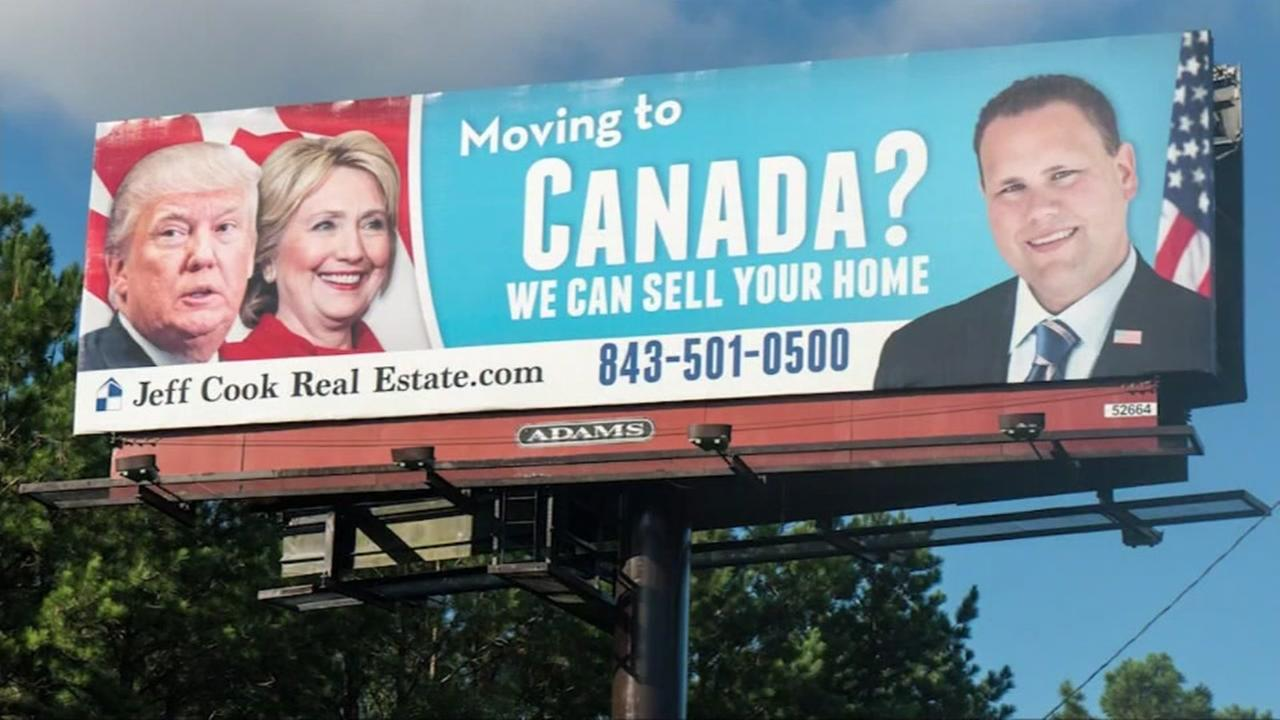 This image shows a billboard in South Carolina offering to help people sell their homes if the election is sending them packing to Canada.