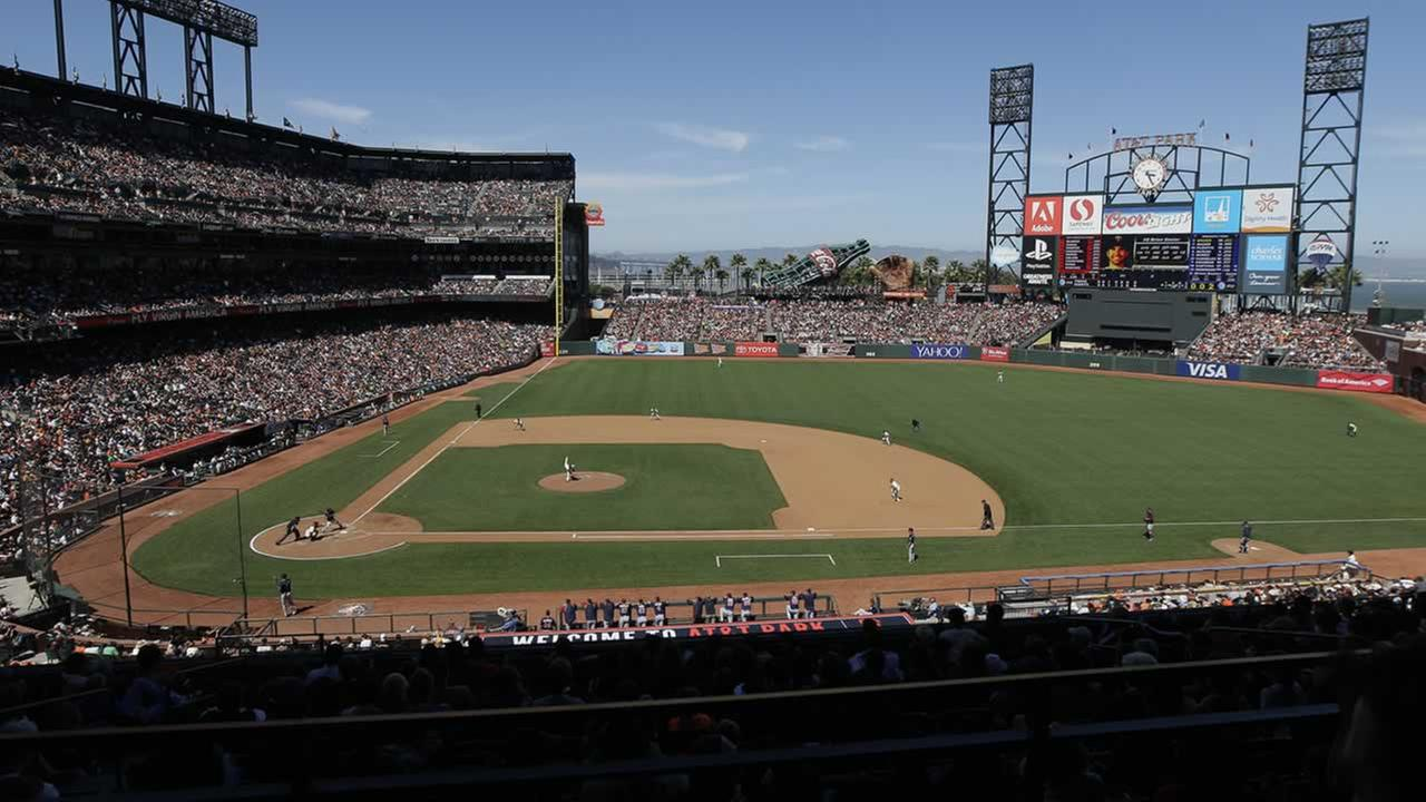 Fans watch a baseball game between the San Francisco Giants and the Minnesota Twins at AT&T Park in San Francisco, Sunday, May 25, 2014. The Giants won 8-1. (AP Photo/Jeff Chiu)