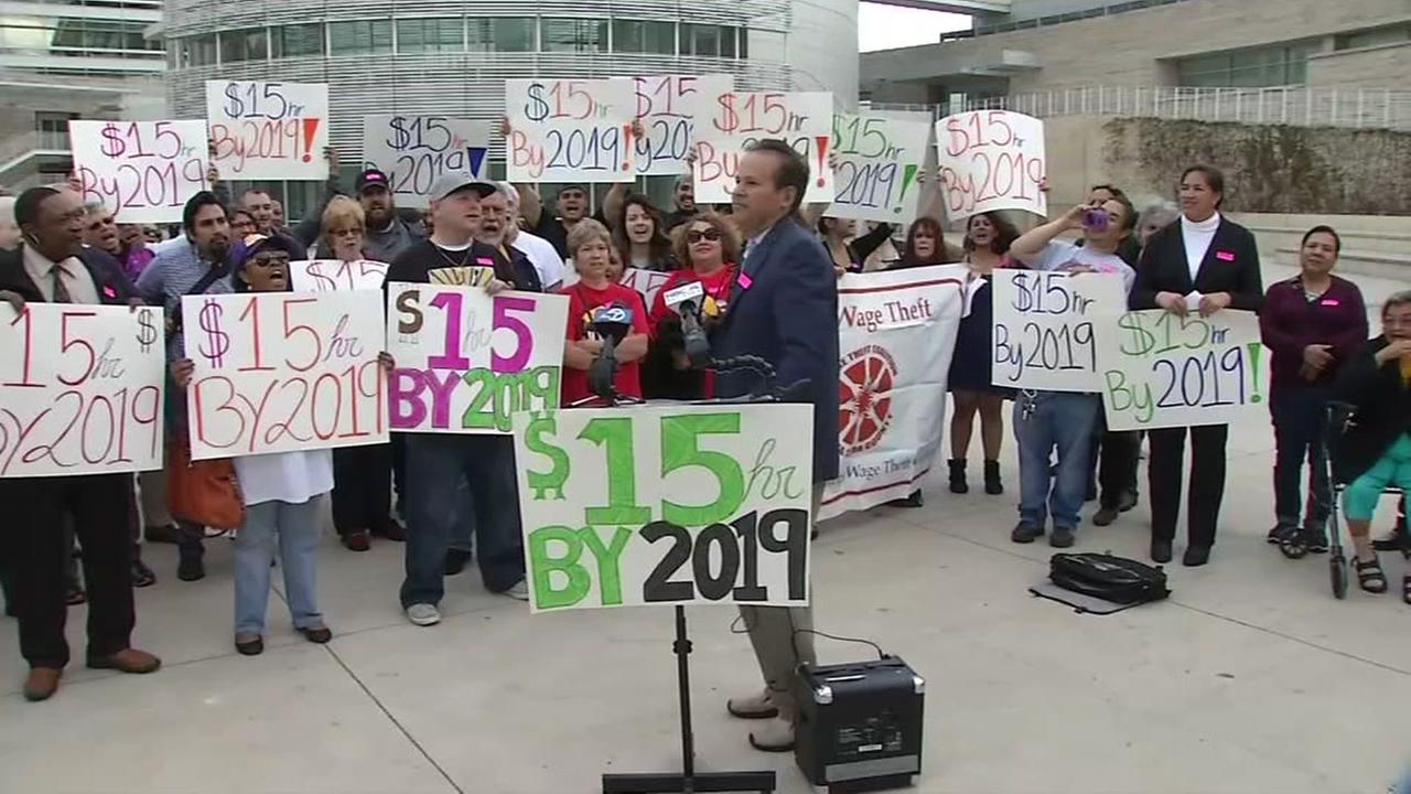 This is an undated image of people protesting the minimum wage in San Jose.