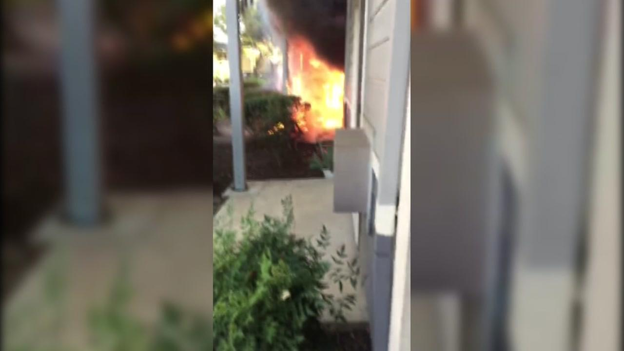 Cellphone video captured on Nov. 17, 2016 shows a fire at the Timberwood Apartments in San Jose, Calif.