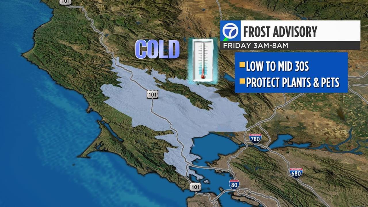 Frost advisory in effect as weekend storm in Bay Area looms