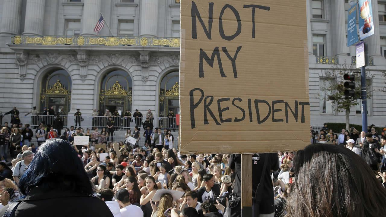 High school students protest in opposition of Donald Trumps presidential election victory in front of City Hall in San Francisco, Thursday, Nov. 10, 2016. (AP Photo/Eric Risberg)