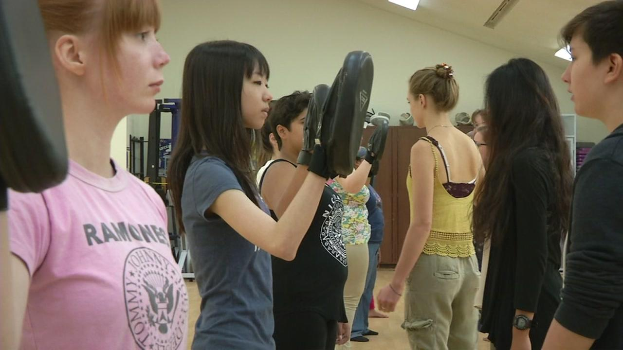 Self-defense class in Mills College in Oakland, California.