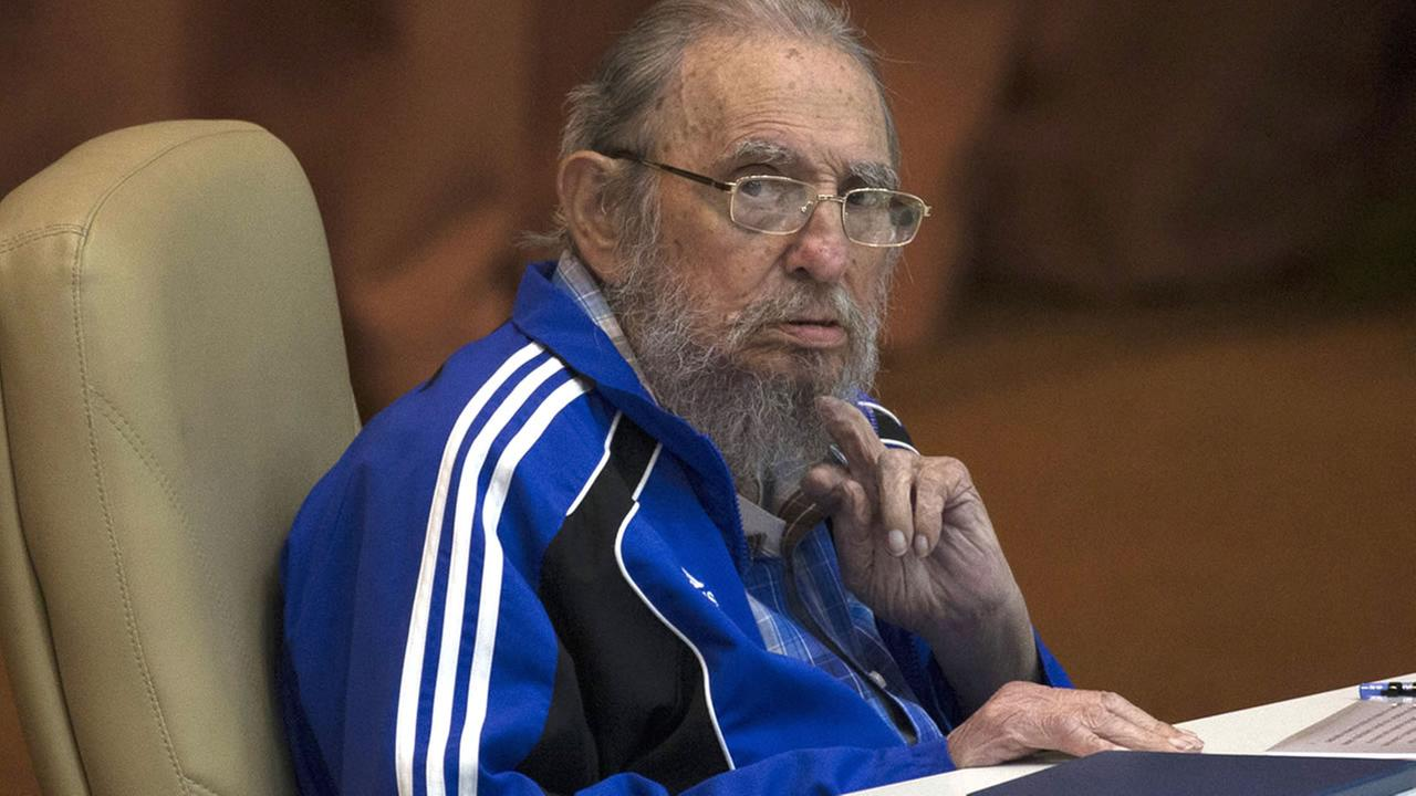 Fidel Castro attends the last day of the 7th Cuban Communist Party Congress in Havana, Cuba, Tuesday, April 19, 2016. (Ismael Francisco/Cubadebate via AP)
