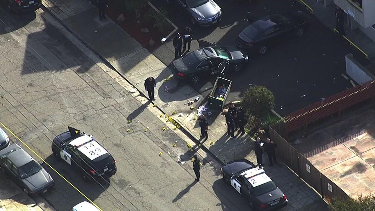 Police investigate shooting in Oakland, California, Monday, November 28, 2016.