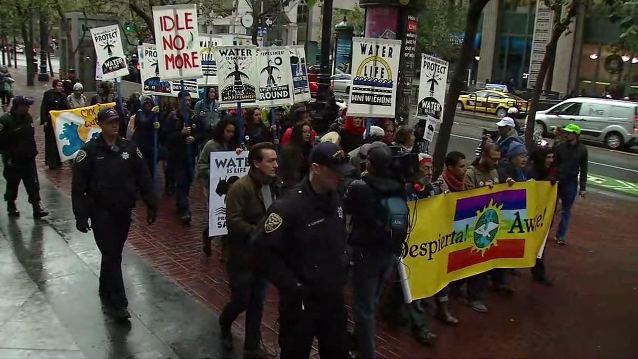 Dakota pipeline protesters march in San Francisco on Wednesday, Nov. 30, 2016.