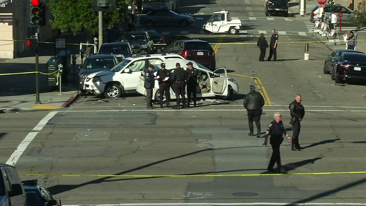 A car crash occurred at Lombard and Divisadero streets in San Francisco on Dec. 1, 2016.
