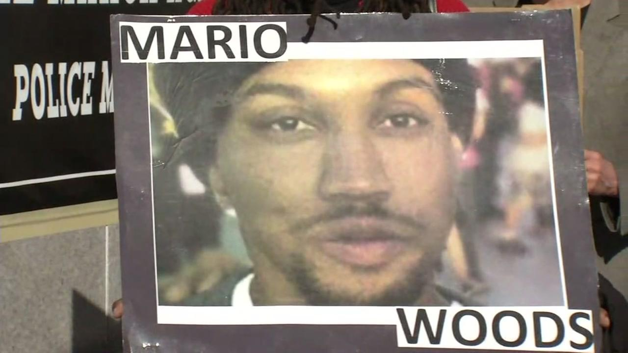 This is an undated image of a poster depicting Mario Woods.