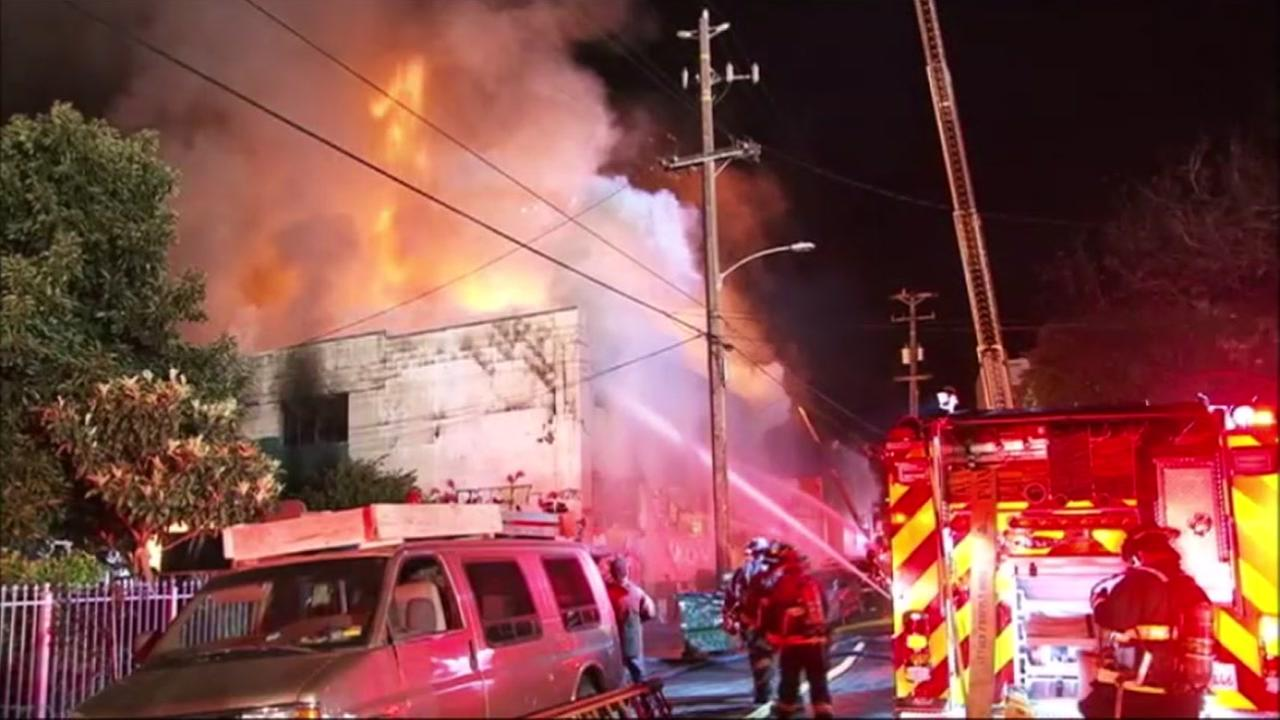 At least nine people have died in a three-alarm fire at a building in Oakland, California, Saturday, December 3, 2016.