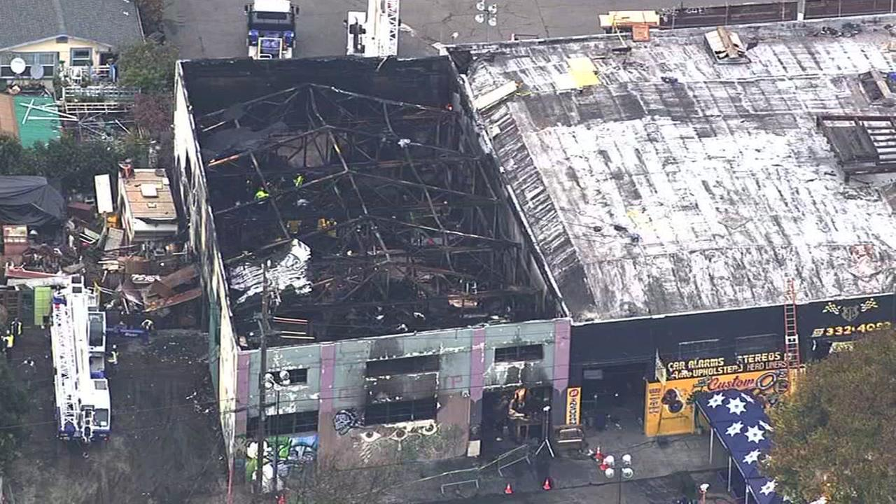The Ghost Ship warehouse in Oakland, Calif. is seen after a fire on Saturday, December 3, 2016.