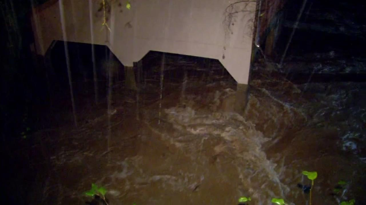 San Anselmo Creek prompted evacuations due to rising waters in San Anselmo, Calif. on Dec. 15, 2016.