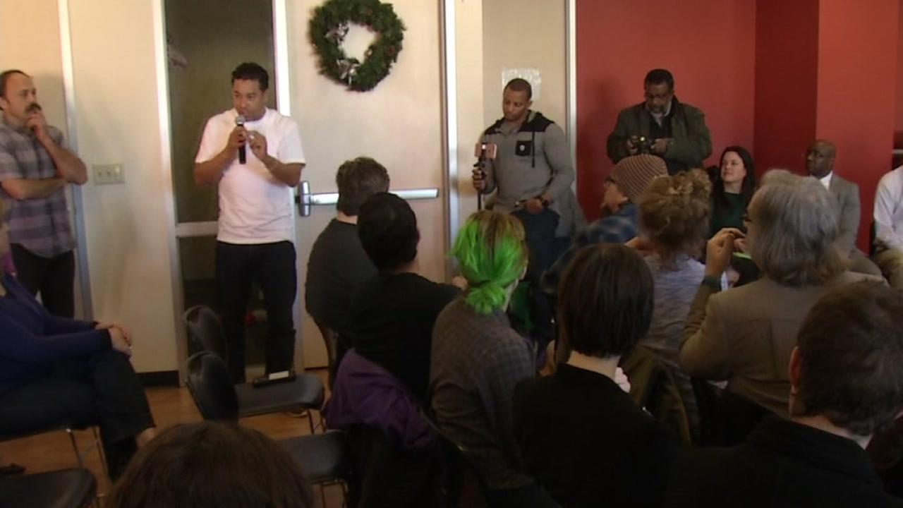 Oakland artists gather to discuss potential evictions in Oakland, Calif. on Dec. 16, 2016.