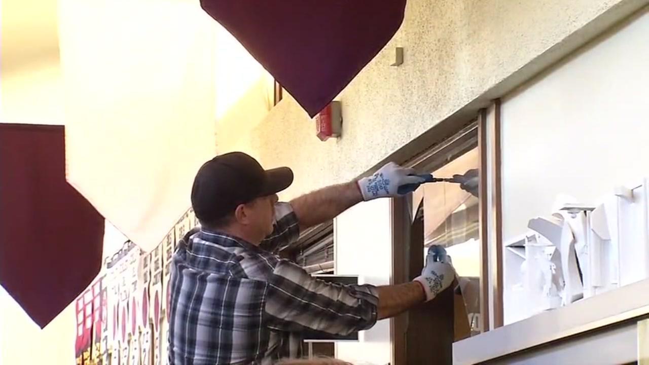 Vandalism at Cardinal Newman High School in Santa Rosa, California, Tuesday, December 20, 2016.