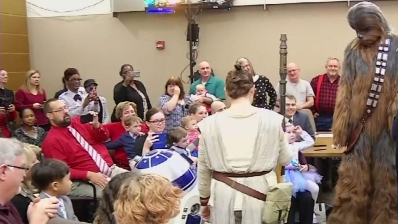 Star Wars characters are seen at a themed adoption ceremony in Wilmington, Del. on December 23, 2016.