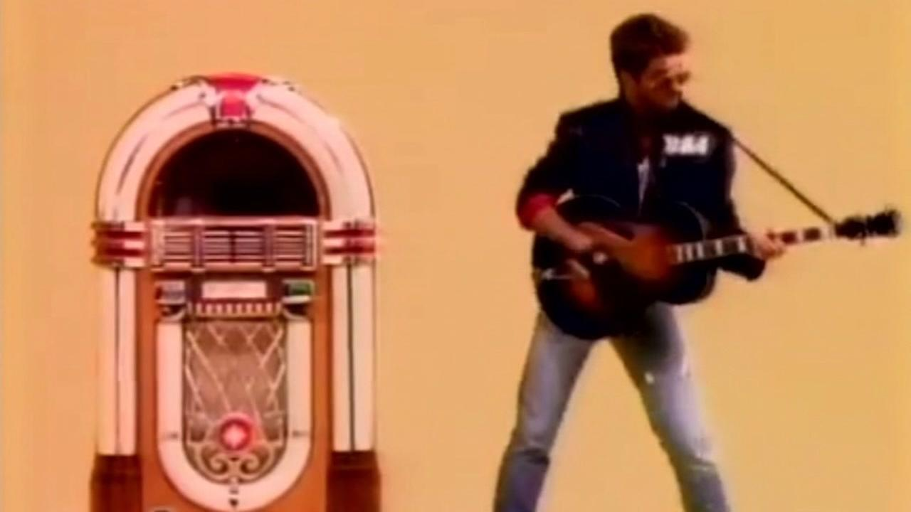 George Michael performs Faith in a music video released in 1987.