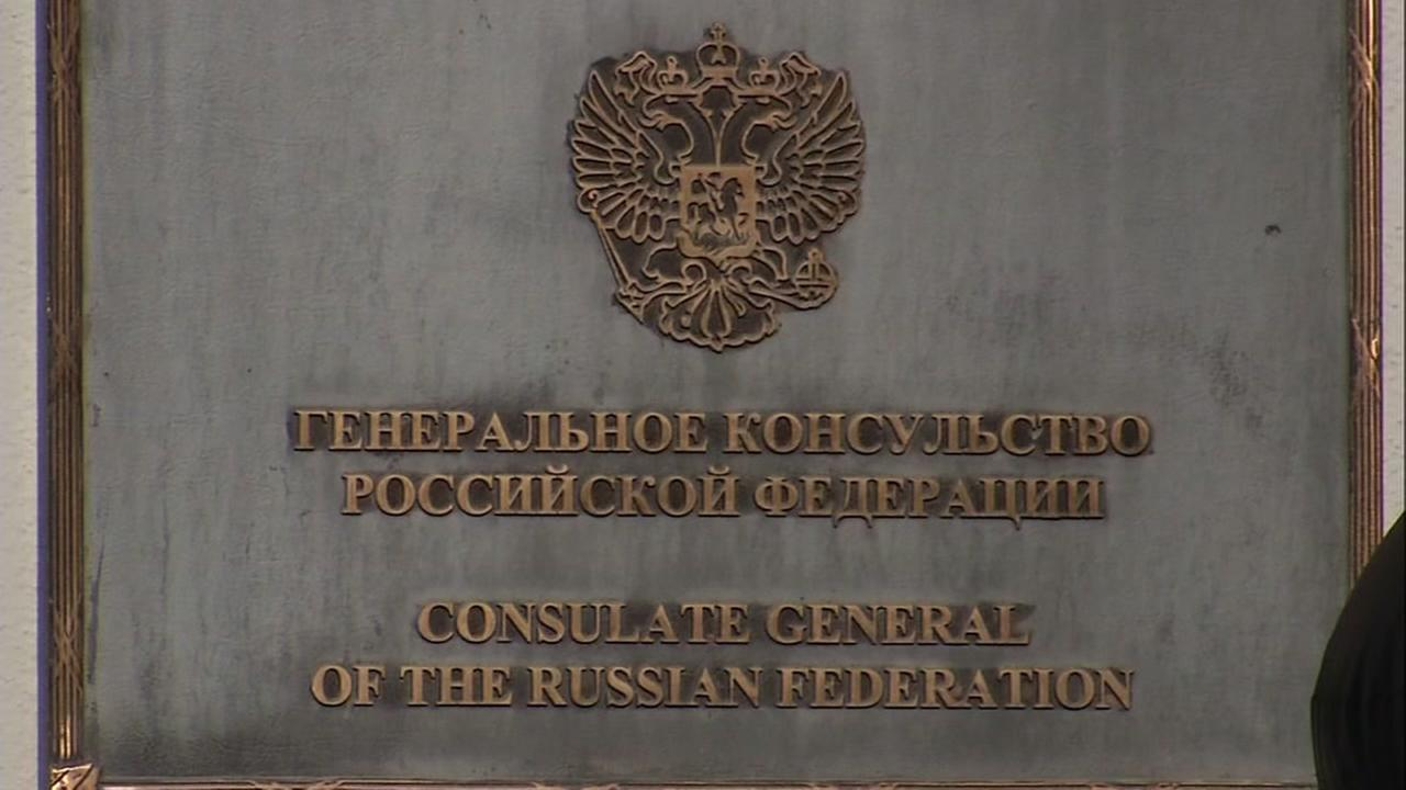 A plaque appears outside the Russian Consulate-General in San Francisco on Dec. 29, 2016.