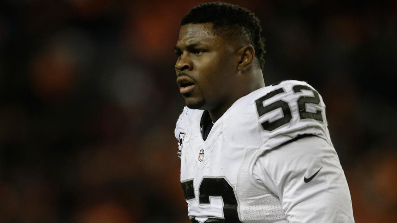 Oakland Raiders defensive end Khalil Mack during an NFL football game against the Denver Broncos, Sunday, Jan. 1, 2017, in Denver.