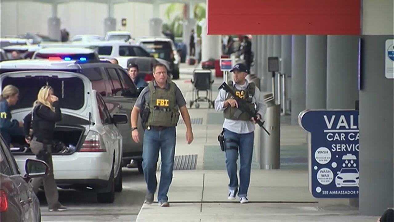 FBI agents on the scene of an airport shooting in Fort Lauderdale, Florida on Friday Jan. 6, 2017.