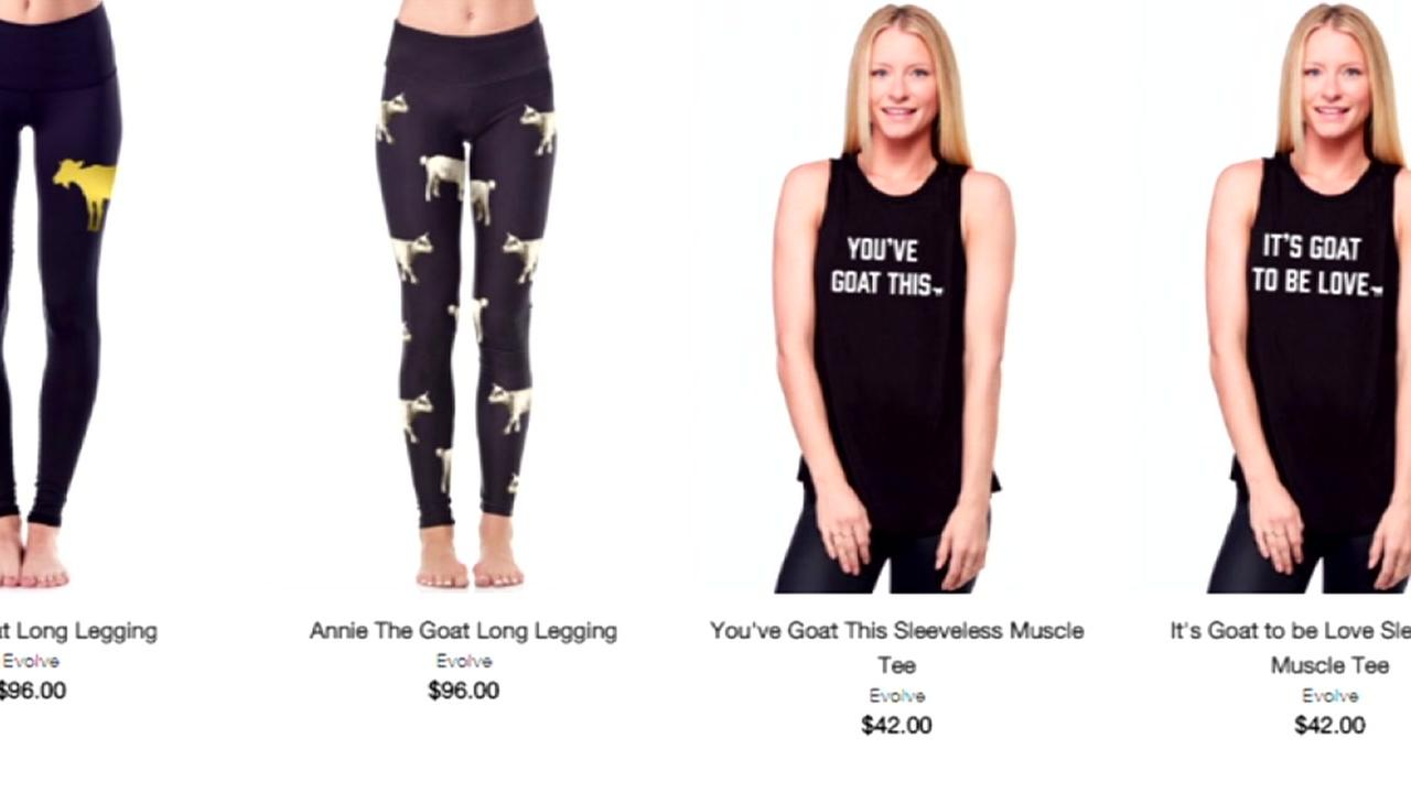 Goat yoga apparel is seen in this undated screenshot of the Evolve Fit Wear website.