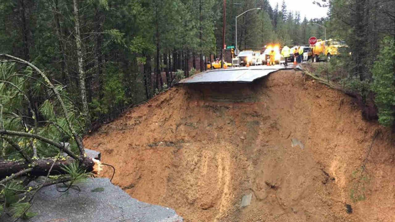 A washed out section of roadway is seen in Colfax, Calif. on Wednesday January