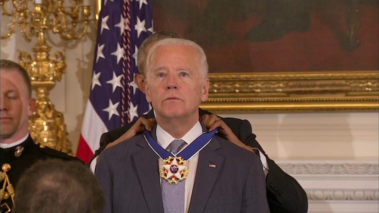President Barack Obama awards VP Joe Biden with the Presidential Medal of Freedom Thursday.