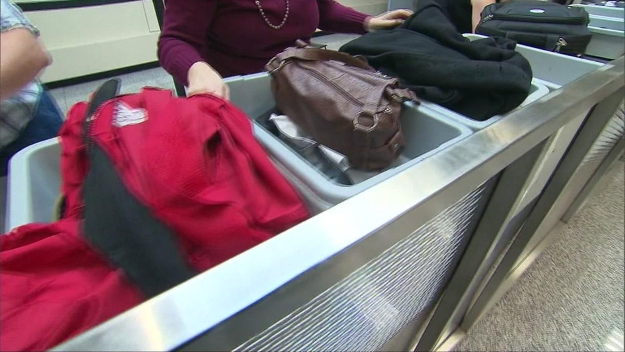 A TSA baggage check screening area is seen in this undated image.