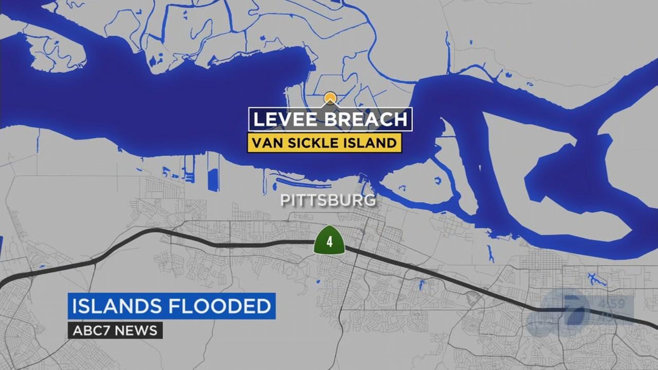 Levees fail near the Delta