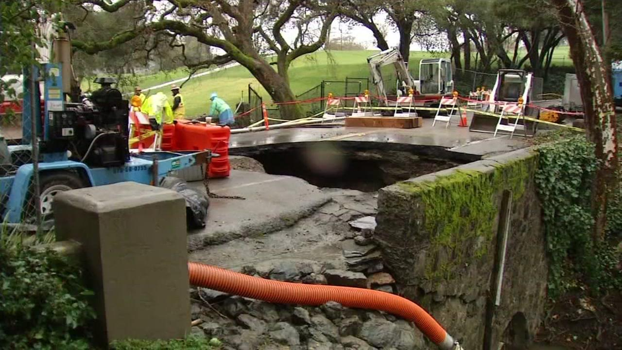 A sinkhole is shown in Orinda, Calif. on Jan. 18, 2017.