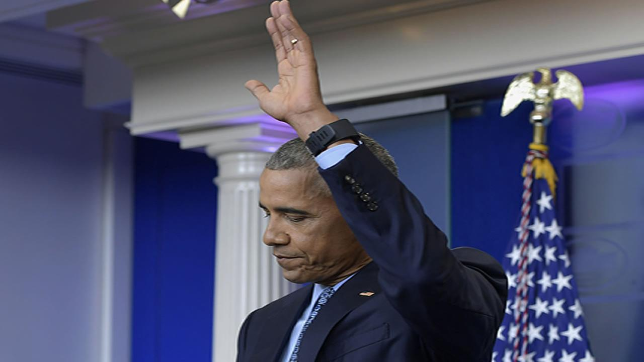 President Obama waves goodbye during his final press conference with the White House Press Club. January 18, 2017