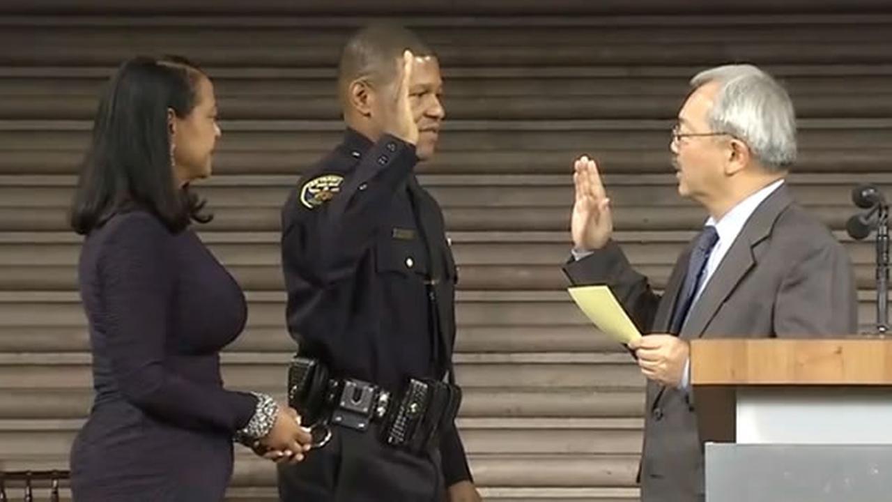 San Francisco Mayor Ed Lee swears in the citys new police chief Bill Scott at City Hall on Monday, January 23, 2017.