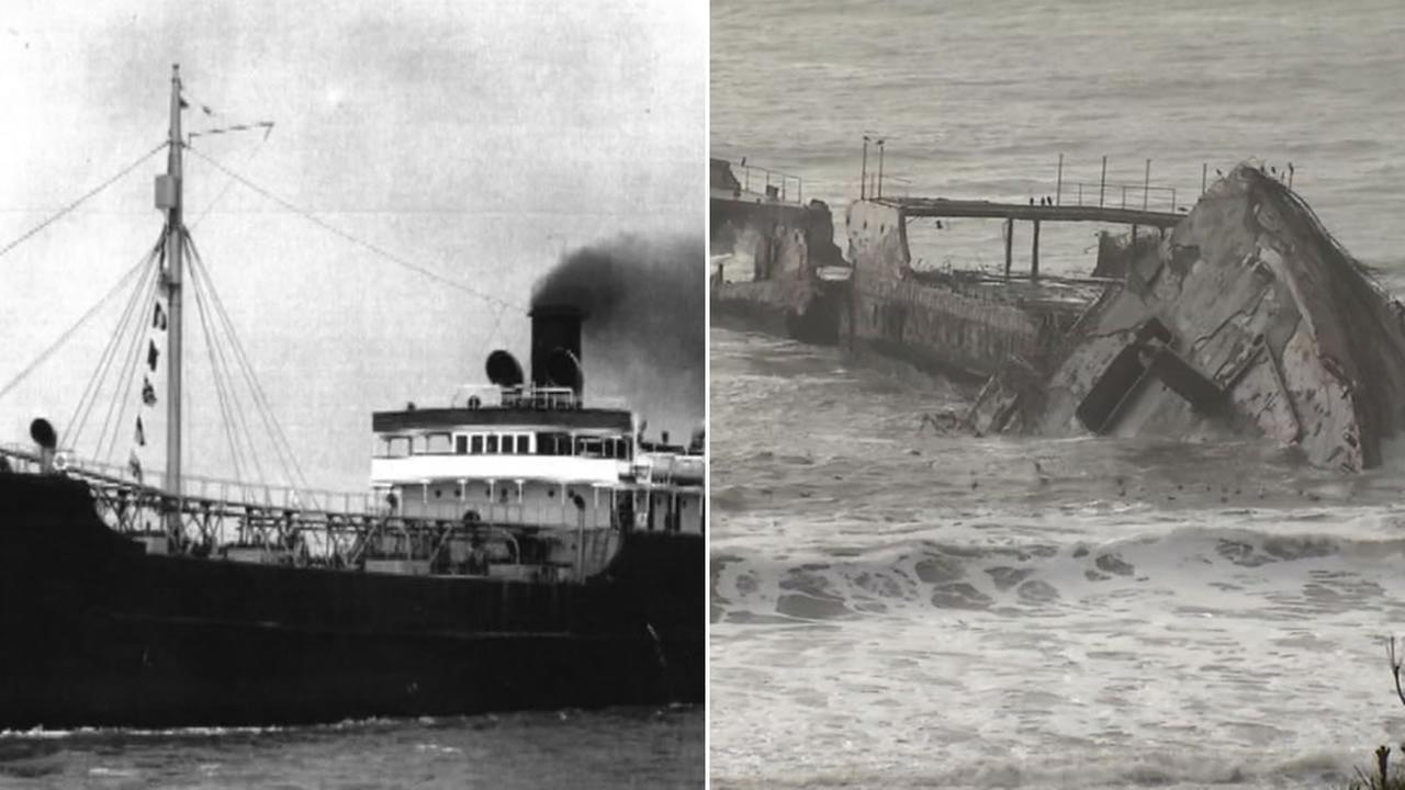 The 98-year-old cement ship the SS Palo Alto is seen broken into three pieces in the surf of Aptos, Calif. on Monday, January 23, 2017.