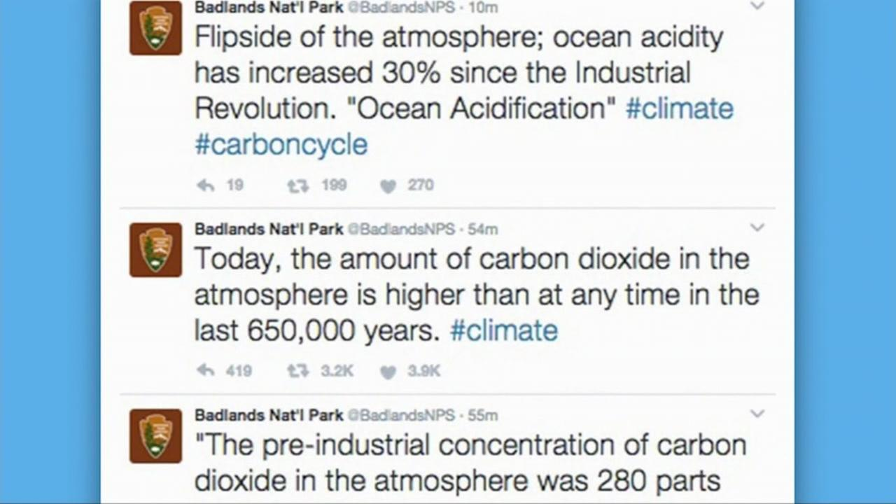 This is a screenshot of tweets sent by Badlands National Park on the subject of climate change on Jan. 24, 2017.