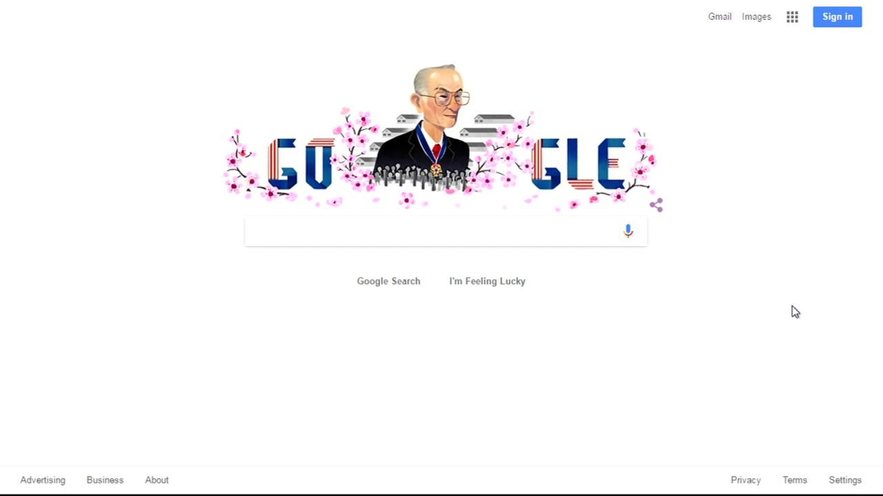A Google Doodle of civil rights leader Fred Korematsu is seen on Monday, January 30, 2017.