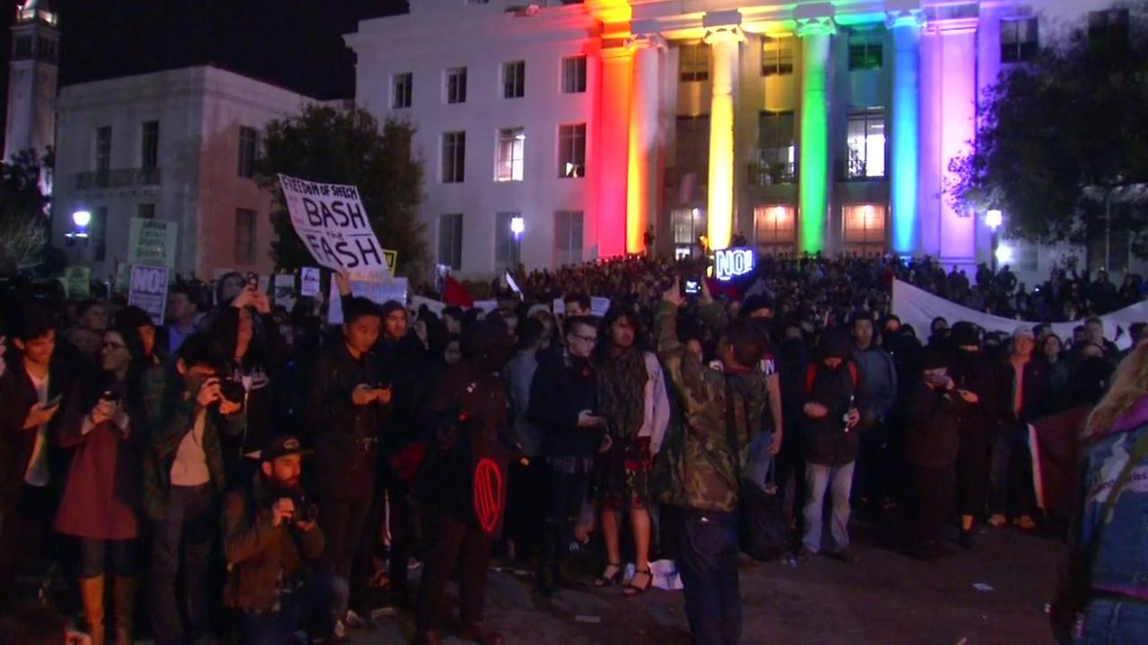 Protesters gather on the UC Berkeley campus after the cancelation of Milo Yianoppoulos event on Feb. 2, 2017.