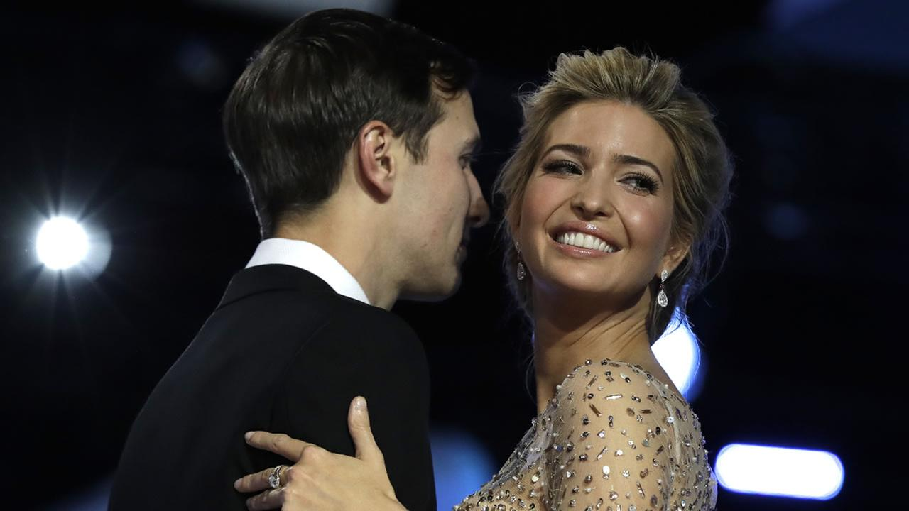 Ivanka Trump and her husband Jared Kushner dance at the Freedom Ball, Friday, Jan. 20, 2017, in Washington.