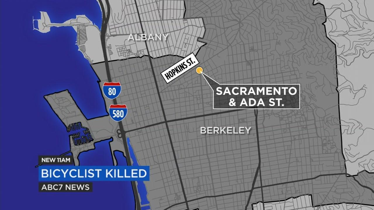 The location of a fatal bicycle crash is seen in this undated graphic.