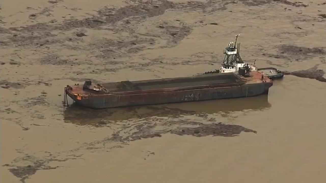 Sky7 captured a mass of floating debris near the Richmond-San Rafael Bridge on Wednesday, Feb. 15, 2017.
