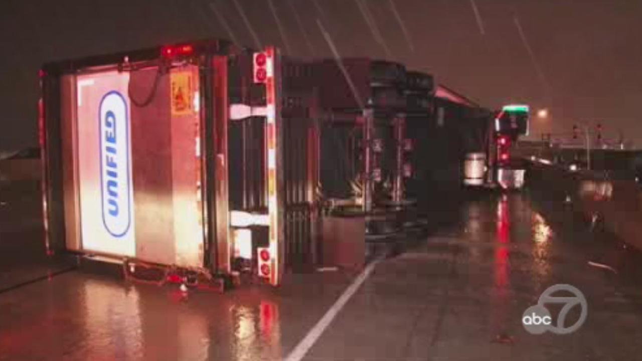 Big rig accident on I-880 in Oakland, California, Thursday, February 16, 2017.