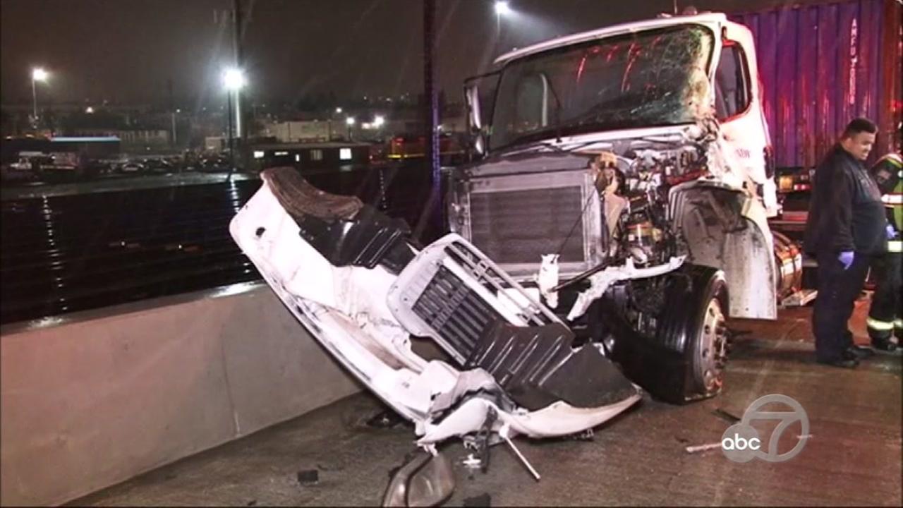 A big-rig crash injured two people on I-880 in Oakland, Calif. on Thursday, Feb. 16, 2017.