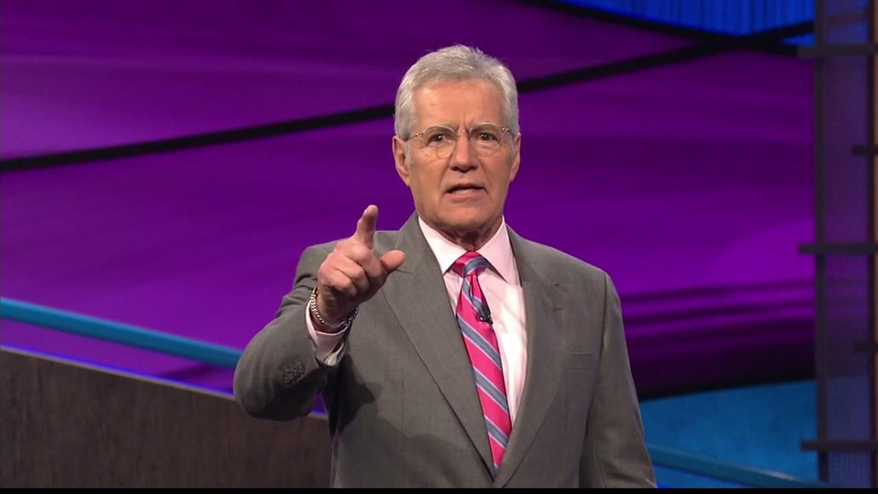 Alex Trebek takes a break from his budding rap career to throw to a commercial break on Jeopardy.