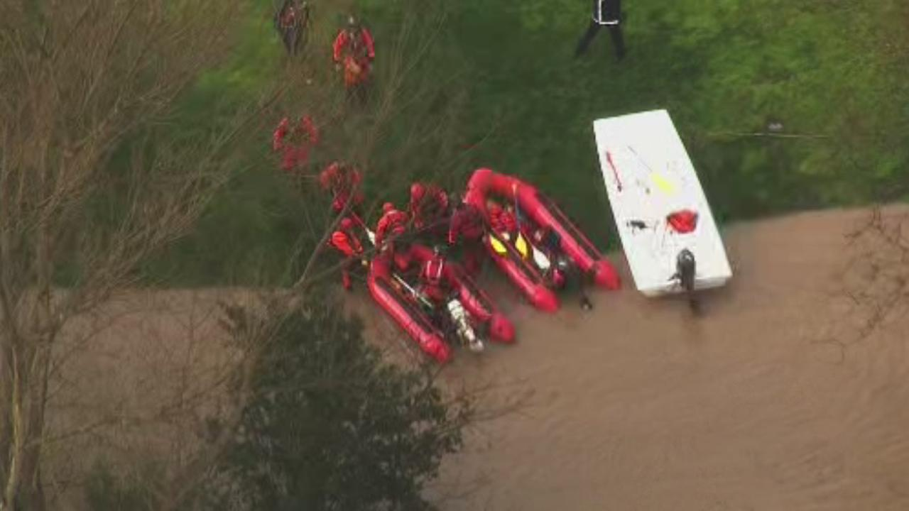 Water rescues underway at  Los Lagos Golf Course in San Jose, California, Tuesday, February 21, 2017.