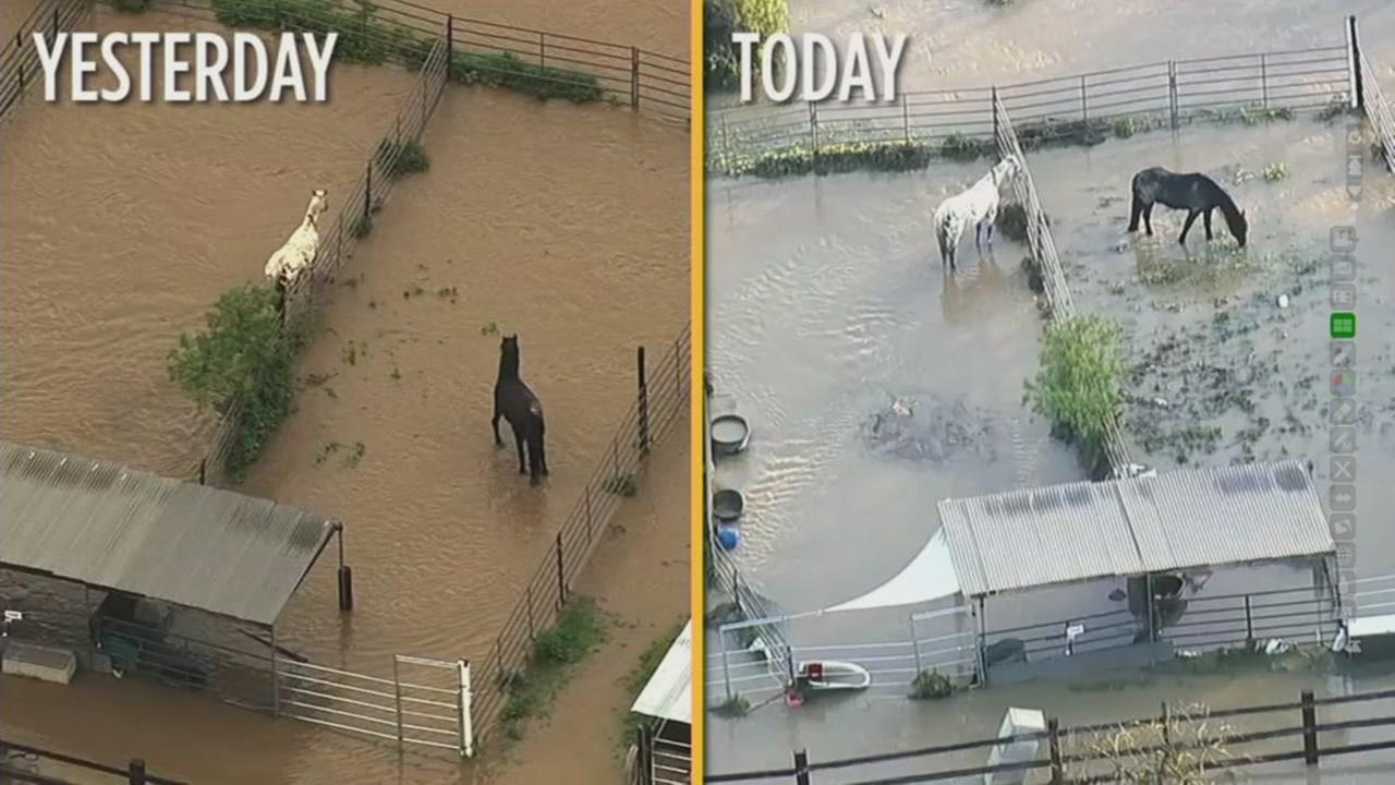 These two images show the difference a day made for flooding in San Jose, Calif.