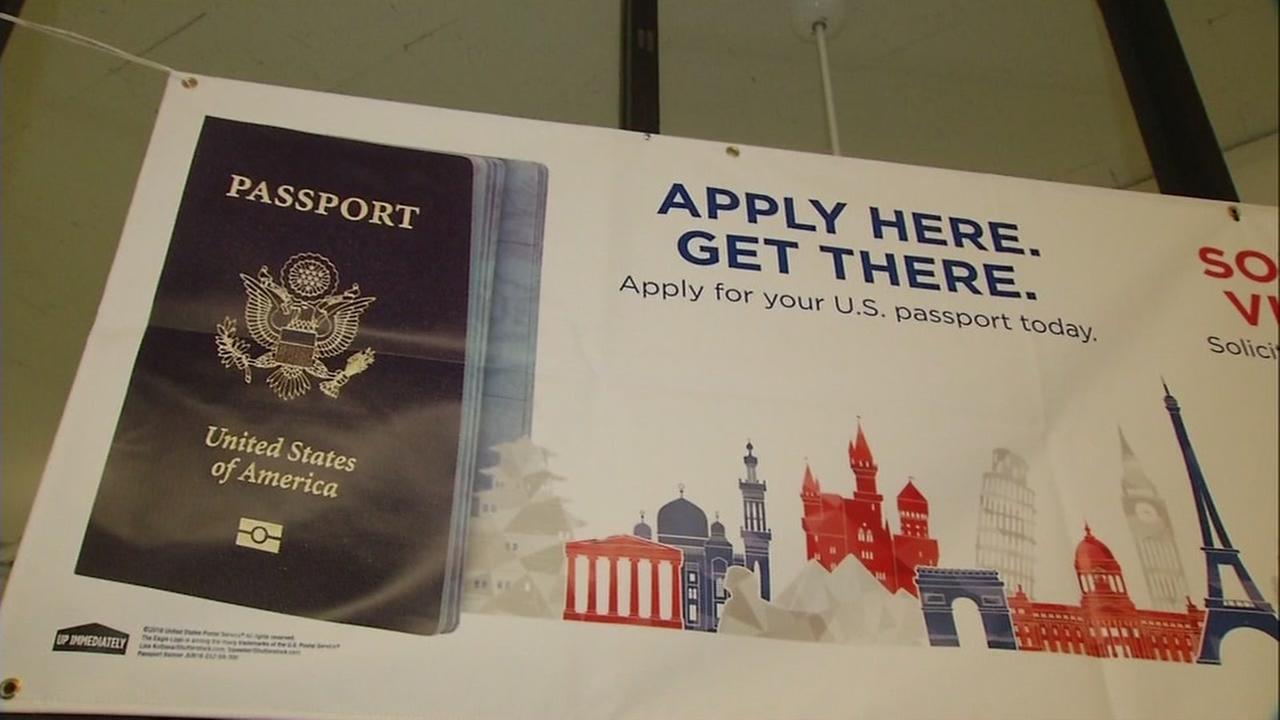 Passport banner at post office in San Jose, California, February 27, 2017.