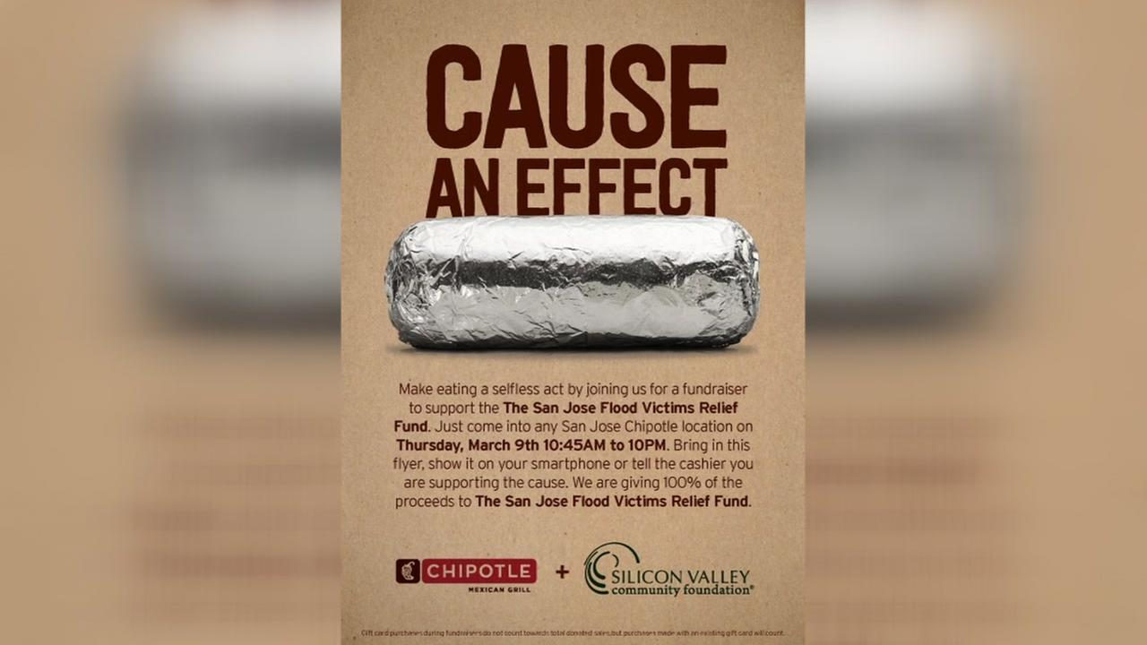 Chipotle holding a fundraiser for San Jose flood victims' relief fund