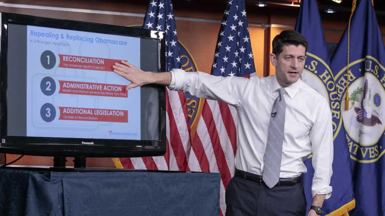 House Speaker Paul Ryan uses charts and graphs to make his case for the GOPs long-awaited plan to repeal and replace the Affordable Care Act, Thursday, March 9, 2017.