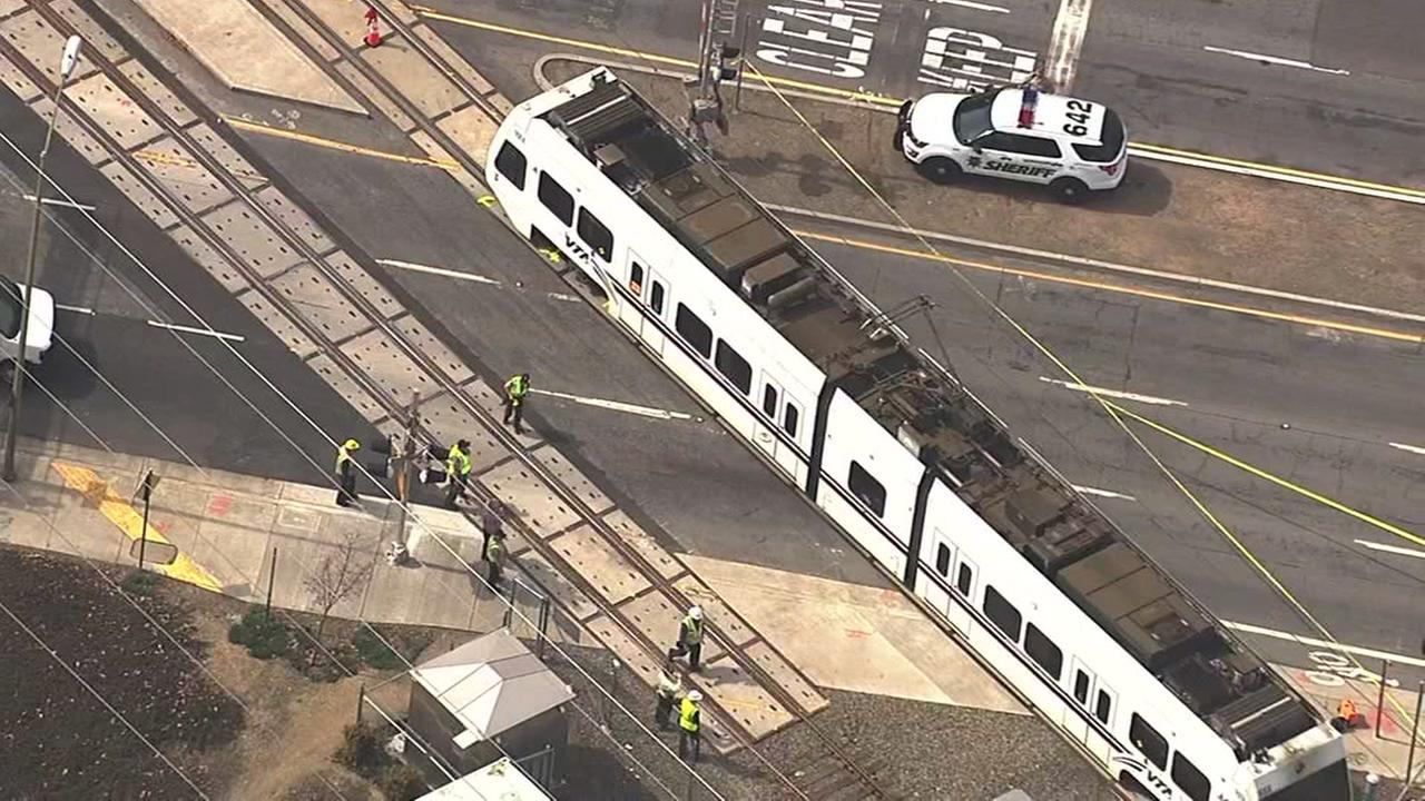 A VTA light-rail train hit a pedestrian in San Jose, Calif. on Friday, March 10, 2017.