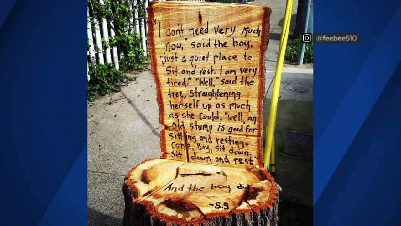 Some anonymous person made a clever commentary on a chopped down tree in Oakland near Lake Merritt.